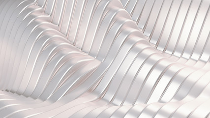 White silver metallic background with waves and lines. 3d illustration, 3d rendering.