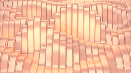 Pink metallic background with waves and lines. 3d illustration, 3d rendering.