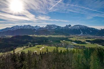 Die Allgäuer Alpen bei Eisenberg, Bayern, Deutschland