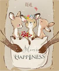 Mom kangaroo with little kids and flowers