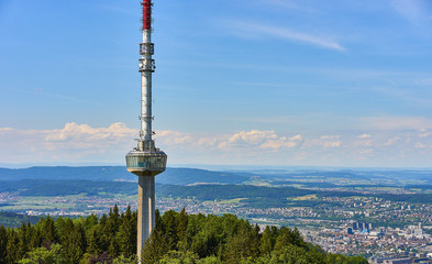 """""""Uetliberg TV-tower"""" (186.7 metre high, built in 1990) and cityscape of Zurich, Switzerland"""