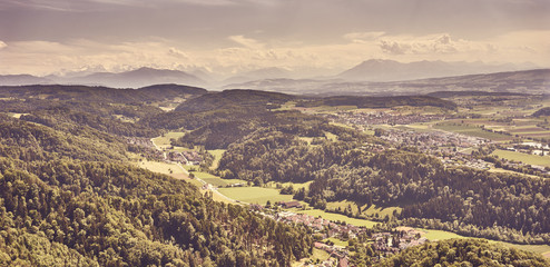 """Backlands and woods of Zurich in Switzerland / View over Cantons of """"Aargau"""" and """"Zug"""" with alps in the background"""