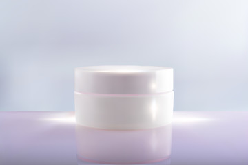 Bank cream package on a pink blue background. 3d vector cosmetic make up cream. Cosmetic cream container. Jar of cream for the face for your design.