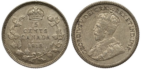 Canada Canadian coin 1 one cent 1919, face value within circle of