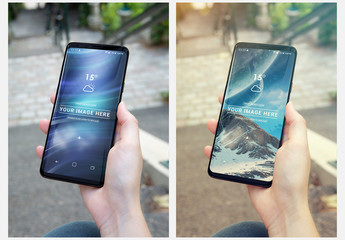 Smartphone Held in One Hand Mockup