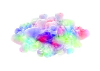 Multicolor smoke on white background. 3d illustration, 3d rendering.