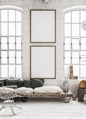 Two vertical Mock-up posters in shabby interior background, Scandinavian style, 3d render