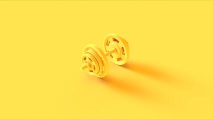 Yellow Barbell Dumbbell 3d illustration 3d rendering