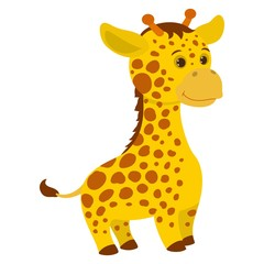 Hand drawn giraffe. Natural colors. Collection of vector hand drawn elements. Illustration