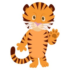 Hand drawn Tiger. Natural colors. Collection of vector hand drawn elements. Illustration