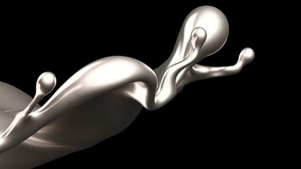 Luxury silver splash of liquid. 3d illustration, 3d rendering.
