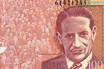 Jorge Eliecer Gaitan portrait on Colombia currency 1000 peso (2015) banknote closeup, Colombian money close up..