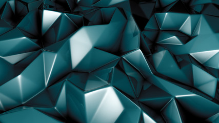 Green crystal background with triangles. 3d illustration, 3d rendering.