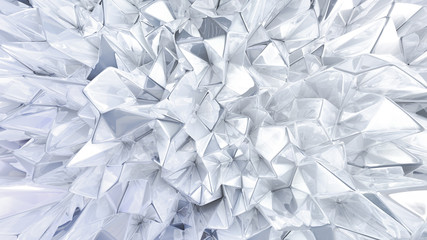 White crystal background with triangles. 3d illustration, 3d rendering.