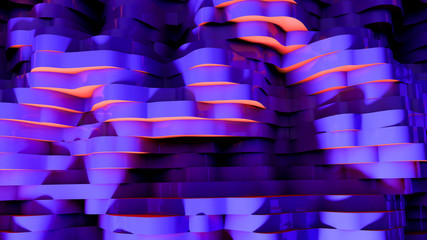 Purple background with orange elements. 3d illustration, 3d rendering.