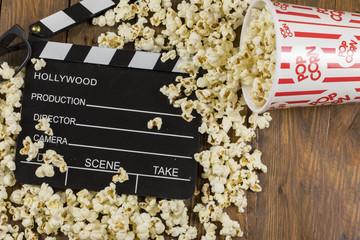 Movie Clapper Board With Popcorn