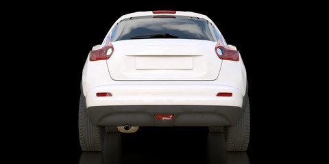 White subcompact crossover SUV on black background. 3d rendering.