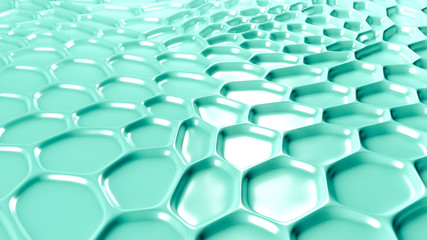 Turquoise geometric background with relief. 3d illustration, 3d rendering.