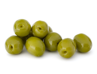Fototapete - Green olives fruits isolated on white background cutout