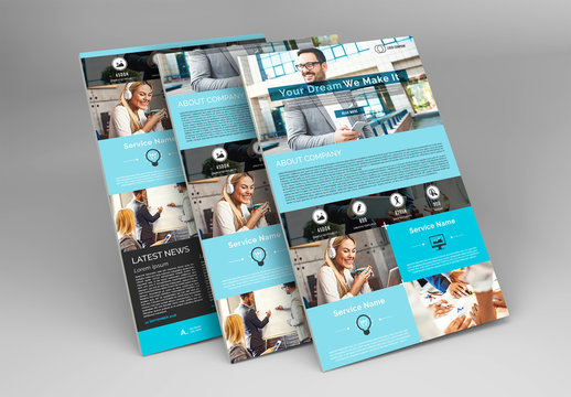 Web Newsletter Layout with Blue Accents