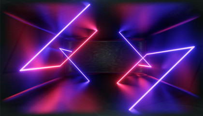 3d Visualization. Geometric figure in neon light against a dark tunnel. Laser glow. Wall mural