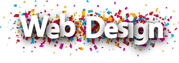 Web design banner with colorful confetti. Fototapete