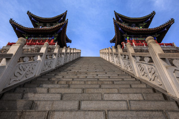 Chinese Temple at the summit of Yuntai Mountain. Xiuwu County, Jiaozuo, Henan Province China. Yuntai UNESCO Global Geopark, Yuntaishan. Red Paint, Symmetry, Architecture, Stairs, Mirrored Buildings