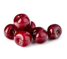 Fototapete - Sweet ripe cherry isolated on white background cutout