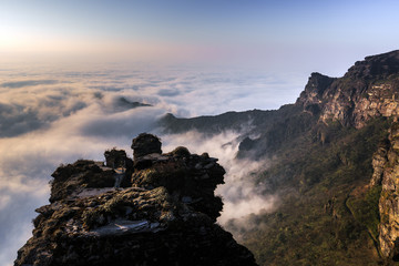 Fanjingshan, Mount Fanjing Nature Reserve - Sacred Mountain of Chinese Buddhism in Guizhou Province, China. UNESCO World Heritage List - China National Parks, Summit View, Sea of Clouds and Peaks