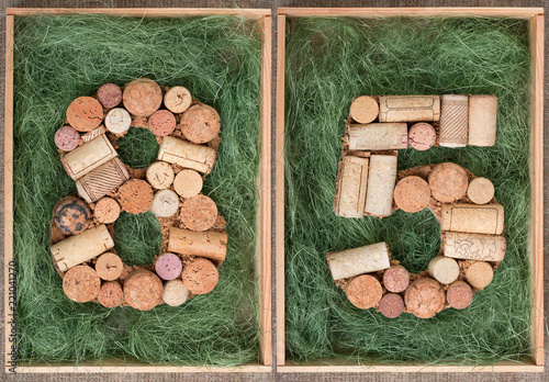 Number 81 eighty one made of wine corks on green background