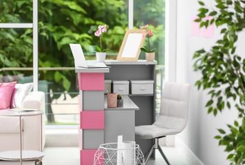 Reception desk in beauty salon. Stylish interior