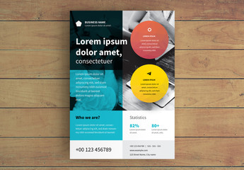 Business Flyer Layout with Colorful Circle Elements