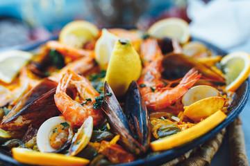 spanish seafood paella, closeup view