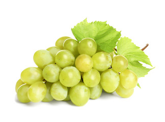 Bunch of green fresh ripe juicy grapes isolated on white