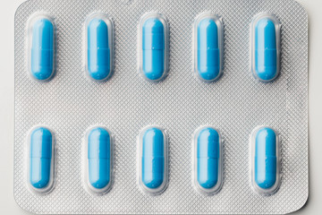blue capsule pills blister pack