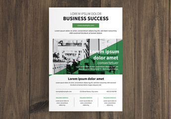 Business Flyer Layout with Green Triangle Photo Overlay