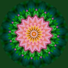 Pink, green, yellow floral abstract pattern. Decorative element, web design, meditation, kaleidoscope.