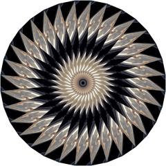 Black, tan, gray, white mandala with geometric spiral pattern on white background. Decorative element, ethnic design, web design, anti-stress therapy, meditation, illusion.