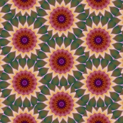 Beautiful yellow, brown, lavender sunflower pattern background