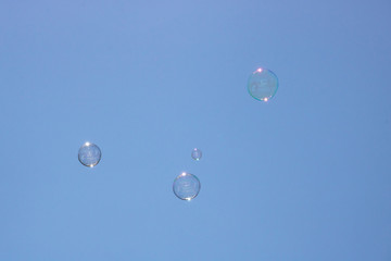 Closeup of bubbles floating in background of blue sky