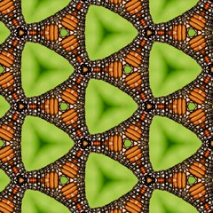 Seamless bright lime green and orange monarch butterfly triangle pattern. Abstract design, illustration for wallpaper, fabric, print