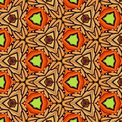 Seamless orange, brown, lime green triangle geometric pattern. Abstract design, illustration for wallpaper, fabric, print