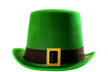 St Patricks day meme and March 17 concept with front view of a green parade hat with a belt and buckle isolated on white background with a clip path cut out