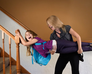 Mother Rushing Child to School Appointment