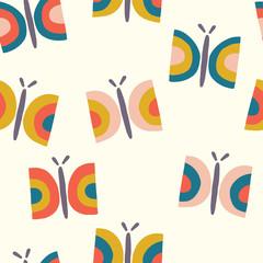 Retro butterfly seamless vector pattern background. Scandinavian seamless hand drawn butterflies in vintage style for girls, women, birthday card, fabric, nursery, gift wrap,banner, kids decor, paper