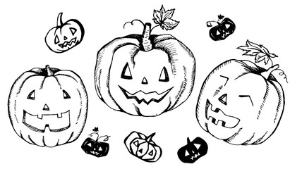 set of halloween hand drawn pumpkin heads elements collection of funny pumpkin faces for greeting