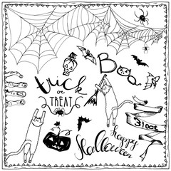 set of Halloween hand drawn elements, lettering and zombee teeth frame for invitation. Hand drawn sketches for your design of poster, cards, invitations, cover template of greeting card