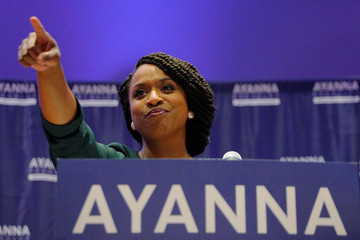 Democratic candidate for U.S. House of Representatives Ayanna Pressley points to her supporters after winning the Democratic primary in Boston