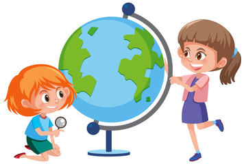 Girls searning the world map on the globe