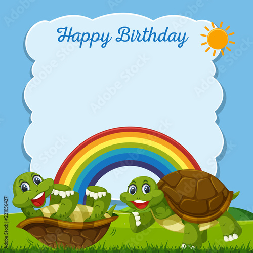 Happy Birthday Turtle Card Stock Image And Royalty Free Vector